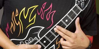thinkgeeks electronic rock guitar shirt